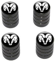 """(4 Count) Cool and Custom """"Diamond Etching RAM Logo Top with Easy Grip Texture"""" Tire Wheel Rim Air Valve Stem Dust Cap Seal Made of Genuine Anodized Aluminum Metal {Brunet Dodge Black and White Colors - Hard Metal Internal Threads for Easy Application - Rust Proof - Fits For Most Cars, Trucks, SUV, RV, ATV, UTV, Motorcycle, Bicycles}"""