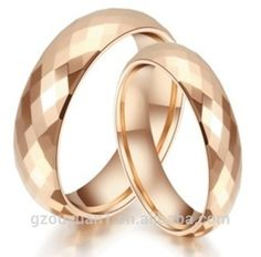 8mm Faceted Rose Golden Silver Tungsten Ring Hammer Comfort Fit Faceted Men Wedding Band Polished Step Edge