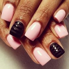 :) nails! love the black and pastel pink.
