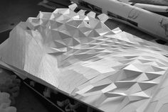 704 Research Studio - Hunters Point South by Bryan Kelley, via Behance Folding Architecture, Parametric Architecture, Landscape Architecture Design, Parametric Design, Green Architecture, Concept Architecture, Architecture Models, Interactive Walls, Concrete Forms