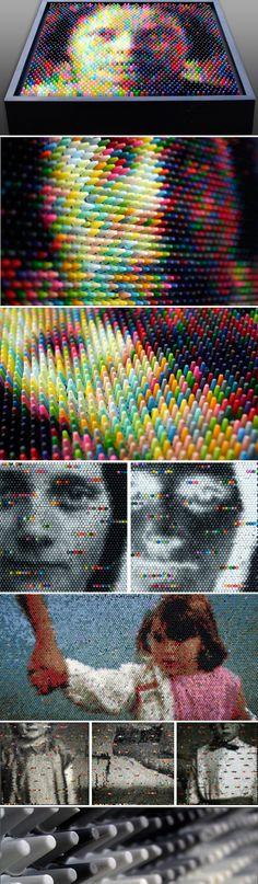 Mosaics made of vertical crayons
