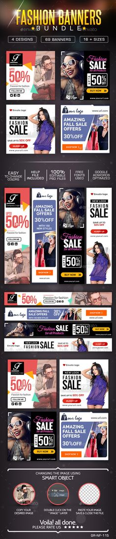 Fashion Sale Banner Design Bundle - 4 sets Template PSD | Buy and Download…