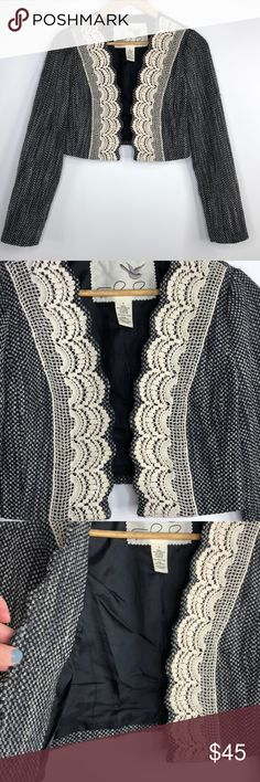 Anthropologie Tabitha Wool Blend Knit Blazer 4 Excellent condition. Anthropologie Tabitha Wool Blend Knit Blazer. Size 4. Long sleeve styling. Beautiful knit detail. Open front. 46% polyester, 43% wool, 7% acrylic, 4% nylon. Black, white and light gray. Lining 100% acetate. Anthropologie Jackets & Coats Blazers