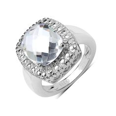Olivia Leone Sterling Silver 4 2/5ct Crystal Quartz Ring (Size-6, ), Women's