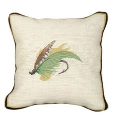 rustic fly fishing pillows | rustic cabin home decor motif, our mixed stitch Green Highlander Fly ...