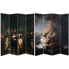A unique chance to own high quality Rembrandt prints laid out on a four paneled 6 foot tall room divider. One side features The Storm on the Sea of Galilee, best known as the painting stolen from the Isabella Stewart Gardner Museum in 1990. The other features The Night Watch also know as The Militia Company of Captain, painted in 1642. A fantastic opportunity to add large scale, moveable art to your home or office.