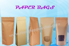Paper Bags for your products. http://www.standuppouches.com/paper-bags #paperbags #paperpackaging #gussetbags #sideguddetbags #kraftbags