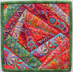 Canton Village Quilt Works ~ Crazy Ribbon Quilt Tutorial Love the colors and would make an interesting wall hanging! Patchwork Quilting, Scrappy Quilts, Mini Quilts, Crazy Quilting, Crazy Quilt Blocks, Quilt Block Patterns, Crazy Quilt Tutorials, Ribbon Quilt, Modern Quilting Designs