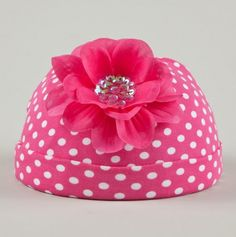 Polka Dot Beanie With Couture Flower for Toddlers.