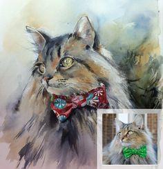 Peinture de Portrait de chat personnalisé, aquarelle originale, Portrait d