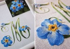 Exquisite Embroidery with Elisabetta Ricami de Mano - victoriamag.com  This is just an exquisite embroidered monogram, indeed it is also a beautifully embroidered botanical Myosotis sylvatica (Forget-Me-Not), I love it:)