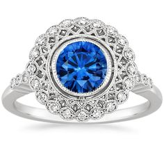Sapphire Alvadora Diamond Ring in 18K White Gold with 6mm Round Blue Sapphire