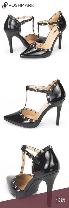 JUST IN black patent stud heels Size 8.5 Shoes Heels