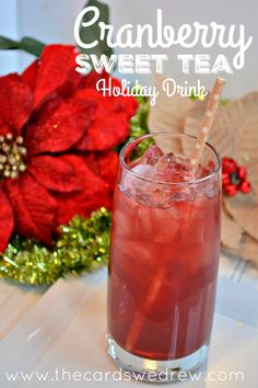 Cranberry Sweet Tea Holiday Drink from The Cards We Drew using Milo's Tea Acholic Drinks, Fruit Drinks, Non Alcoholic Drinks, Refreshing Drinks, Summer Drinks, Cocktail Drinks, Healthy Drinks, Cocktails, Beverages