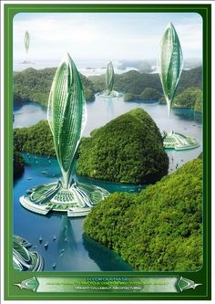 Hydrogenase : Inhabited Algae Farm and Bio-Hydrogen Airship For The Future. 100% self sufficient in energy and zero carbon emission, cleaning the sea environment as it uses the floating waste banks as a nutrient source. Vincent Callebaut Architectures.