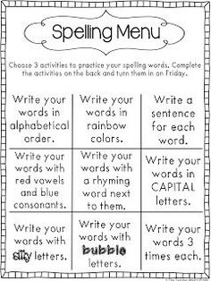 Fun word work activity! Pick three ways to practice sight words. A fun sight word game for first grade and second grade!