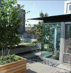 Es una buena manera de conectar dos espacios de una terraza, pero dar la ilusion de dos ambientes