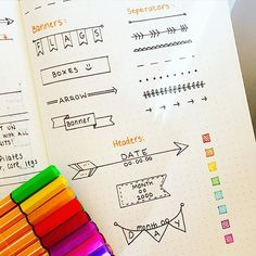 """""""Some banners, headers and seperaters for organising your bullet journal """" PS This is not my pic and no intended copyright. Sketch Note, To Do Planner, Planner Organization, Study Notes, Bullet Journal Inspiration, Smash Book, Journal Pages, Journal Ideas, Doodles"""