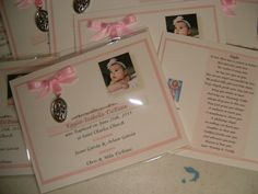 I love this idea!   20  BAPTISM FAVORS medal cards personalized. $40.00, via Etsy.