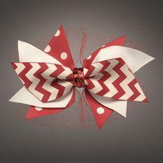 Crimson and Cream  Cutie Bow on alligator clip $7 at Azarhia.com