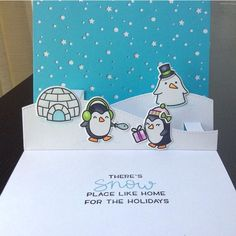 Cute penguin Christmas Card created by @dolly_scrapthat which they coloured with their Chameleon Pens.  #lawnfawn #snowcool stamps and dies #stitchedhillsidepopups #snowybackdropdie #chameleonpens #snow #penguins #igloo #christmas
