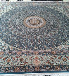 Grand master piece Isfahaan Square Oversize light Blue Color Tak Kheft very fine Persian Carpet, Persian Rug, Rugs On Carpet, Carpets, Arabic Art, Light Blue Color, Magic Carpet, Islamic Art, Tapestry