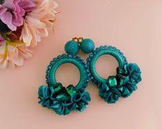 Items similar to Camile Turquoise Hoop Earrings on Etsy Big Earrings, Beaded Earrings, Statement Earrings, Crochet Earrings, Hoop Earrings, Turquoise Earrings, Bridesmaid Gift Boxes, Floral Hoops, Bridesmaid Earrings