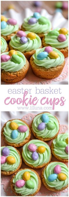 Easter Basket Cookie Cups A delicious peanut butter cookie cup filled with homemade buttercream frosting and topped with easter egg candies. - Easter Basket Cookie Cups - The Perfect Easter Treat (+VIDEO) Mini Desserts, Holiday Desserts, Holiday Recipes, Easter Desserts, Holiday Treats, Easter Cookies, Easter Treats, Easter Food, Easter Eggs