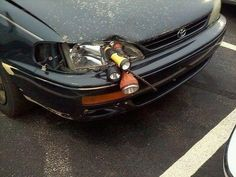 The careful driver who won't let a broken headlight ruin her night vision. | 28 People Who Totally Fixed Everything