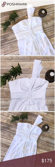 Bcbg Max Brand new crops pure white white white sexy sultry mini, get those white patty invites and RSVP we are coming for you baby. One shoulder strap all polyester. Simply summer stunning. NWT BCBGMaxAzria Dresses Mini