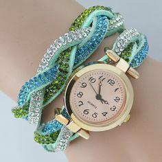 Wrap Watch, Cowhide, with Glass & #Rhinestone, 2-strand.
