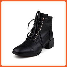 Women's Solid Kitten-Heels Round Closed Toe PU Zipper Boots Black 39