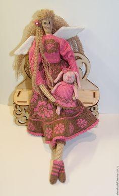 Купить Вязаная Тильда Розовая фея - комбинированный, кукла, кукла ручной работы, тильда