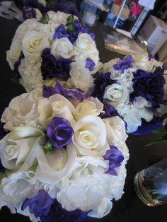 White and purple wedding flowers by Tango Flowers (Tango Flowers, NZ)