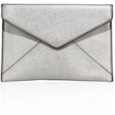 Rebecca Minkoff Leo Saffiano Metallic Leather Envelope Clutch ($67) ❤ liked on Polyvore featuring bags, handbags, clutches, anthracite, apparel & accessories, white leather purse, handbag purse, leather man bags, hand bags and leather clutches