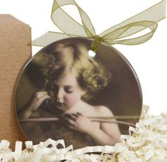 Victorian Cupid Asleep Valentine Porcelain Ornament by Cowbelles, $13.00