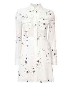 A.L.C. Pedro Star Blouse Dress: A blousy silk dress with a celestial print. Standard, fold-over collar. Concealed front button placket. Long sleeves with button cuffs. Flap button pockets at upper bodice and on-seam pockets at flared skirted bottom. Semi-sheer. Lined. In white. Fabric: ...