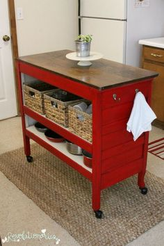 Repurposed dresser into kitchen island with General Finishes Holiday Red and Van Dyke Glaze – Home Decoration – Interior Design Ideas - Kitchen - Best Kitchen Decor! Refurbished Furniture, Repurposed Furniture, Furniture Makeover, Dresser Repurposed, Chair Makeover, Furniture Projects, Furniture Making, Diy Furniture, Furniture Storage