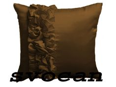 2 Pc Stylish 27''X27'' Frill Satin Brown Cushion Cover Xmas Home Decor