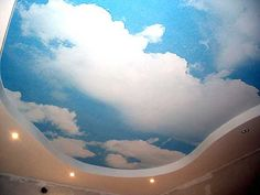 blue sky with clouds ceiling design for kids room decorating