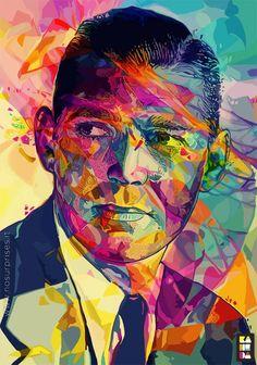 Prendre des portraits et rajouter par dessus des formes plus ou moins aléatoires ou epousant celles du visage en mettant des couleurs tres vives.