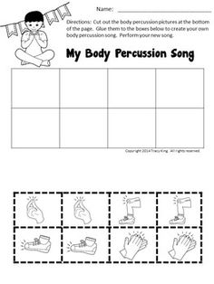 Body Percussion Worksheets by The Bulletin Board Lady-Tracy King Music Activities For Kids, Music Lessons For Kids, Music Lesson Plans, Preschool Music, Music For Kids, Music Education Lessons, Physical Education, Health Education, Music Worksheets