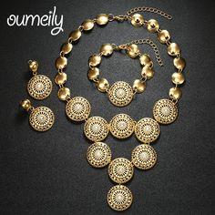 OUMEILY 웨딩 아프리카 구슬 보석 세트 여성 파티 선물 신부 모조 크리스탈 액세서리 목걸이 귀걸이 팔찌