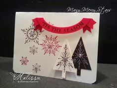 Many Merry Stars by Melissa Davies @ rubberfunatics Homemade Christmas Cards, Stampin Up Christmas, Homemade Cards, Christmas Diy, Stampin Up Many Merry Stars, Winter Cards, Holiday Cards, Snowflake Cards, Snowflakes