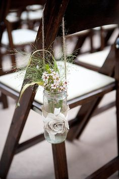 DIY aisle decoration; #kilner jar with flowers and burlap. Made with love.
