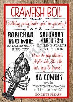Crawfish Boil Custom Digital Invitation by Bubskiworks on Etsy, $11.00