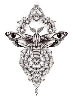 Moth Tattoo Design, Buddha Tattoo Design, Floral Tattoo Design, Mandala Tattoo Design, Tattoo Design Drawings, Mandala Tattoo Sleeve Women, Butterfly Mandala Tattoo, Mandala Tattoos For Women, Dotwork Tattoo Mandala