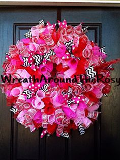 Deco mesh curly valentines day baby girl by WreathAroundTheRosy, $95.00