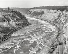 "Circa 1900. ""Whirlpool Rapids from Niagara Railway bridge, Niagara Falls, N.Y."""