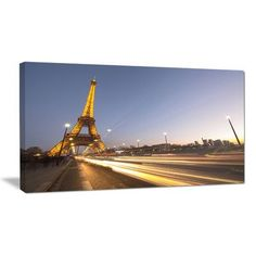DesignArt Traffic Trails Near Paris Eiffel Tower in Paris Cityscape Photographic Print on Wrapped Canvas Size: